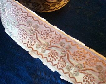 1 yd. of Antique lame ribbon with beautiful pattern fabulous