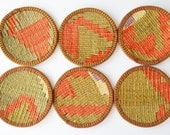 Sukan / Hand Woven - Turkish Antique Kilim Cups Coasters - Cup Coasters - Cup Coaster - Coaster - 6 pcs
