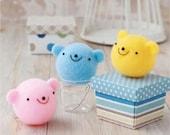 Felting Cleaner Series : DIY handmade Bear mascot trio Wool Felt kit -  Japanese kit package