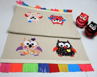 Owl Appliqued on Beige Duck Linen Fabric with Colorful Felt Fringes Table Runner