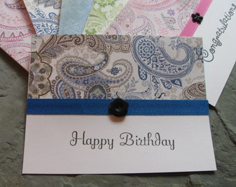 assorted greeting card set with paisley papers