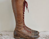r e s e r v e d...vintage 1930s boots / 30s rare marron lace up boots / 1930s antique boots
