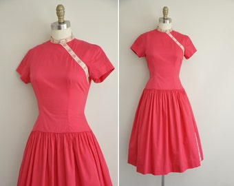 vintage 1950s dress / 50s pink full skirt cotton dress / 1950s dress