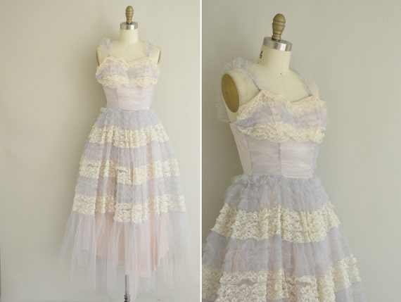 vintage 1950s dress / 50s tulle lace prom dress / 1950s XS cupcake party dress