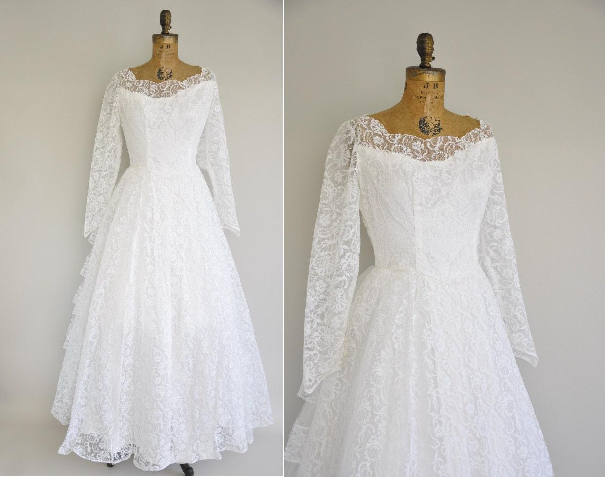 50s Wedding Dress / Vintage 1950s Rare XL Wedding Dress / 50s