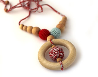 Red and Light Blue Nursing Necklace / Teething Ring / Teething Necklace