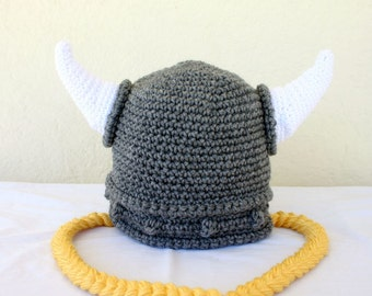 Viking preteen hat with ties teenager gray white yellow beanie photography prop cap horns braided Norse costume grey hair soft helmet