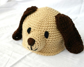 Crochet puppy dog hat 12-36 month size toddler beanie child head covering winter costume photography prop dog pet cute