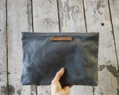 Large Waxed Canvas Pouch in Slate, Grey, make up bag, waxed canvas clutch, cosmetic storage, waxed canvas bag, Zipper Pouch, Zip, For Him
