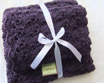 Baby Girl Shower Gift set -Crochet baby blanket- Plum wine baby girl blanket set - Newborn shower gift - Photography prop