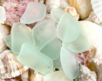 10pcs SEAFOAM freeform top drilled  sea beach glass pendant beads matte frosted recycled