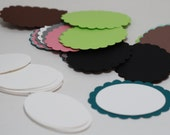 OVAL Scallop  TAGS - variety of coloured tags and white tags to layer inside - 50 TAGS