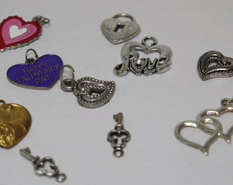 Key to my HEART CHARM set - 10 charms - love, valentines, hearts