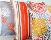 OUTDOOR Pillow Covers, Decorative Throw Pillows, Cushion Covers, Orange Yellow Gray White Grey Home Decor, Combo Set of Three 18 x 18