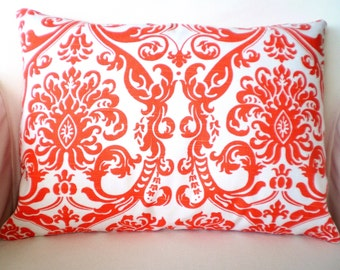 Orange White Damask Lumbar Throw Pillow Cover, Cushion Cover, Orange and White Damask Handmade Pillow Cover, Couch Bed,  12 x 16 or 12 x 18