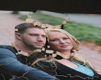 40 pc PHOTO Puzzle Guest Book for Wedding - Hand Cut Wooden Jigsaw Puzzle - MADE To Order