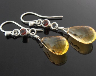 SALE - Citrine, Garnet and Sterling Silver Earrings, Citrine Briolette Earrings, Citrine Earrings, November Birthstone Earrings
