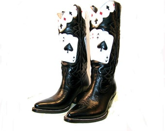 Vintage Cowboy Boots Mens Ace of Spades Leather Inlay Western Boots Mens US Size 8