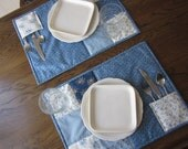 No 2. Blueberry Quilted Placemats Set of 2