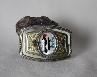 Belt Buckle Inlay MOP Coral Turquoise Jet Abalone Woodpecker Bird Design