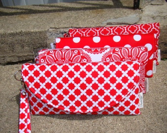 Set of 4 Custom Made Bridesmaids Clutches ... Red Wedding Colors (more available)