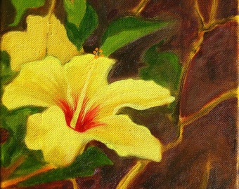 "Hibiscus flower oil painting - original art 8x8x1.5"" yellow flower"