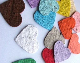 50 Plantable confetti hearts- choose from 16 colors - homemade paper mixed with wildflower seeds- ecofriendly- earth day