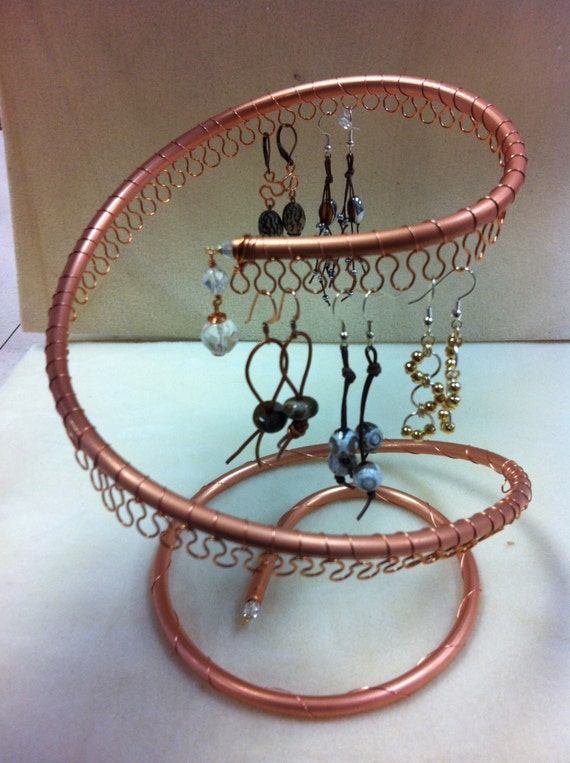 Spiral copper earring tree jewelry holder organizer about 40 for How to make a wire tree jewelry stand
