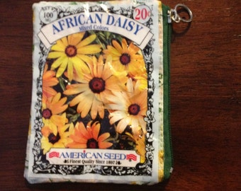 Upcycled African Daisy Seed Packet Coin Purse or Pouch