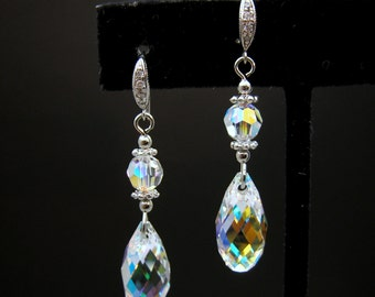 Swarovski clear AB teardrop briolette crystal and white gold findings earrings -Free US shipping