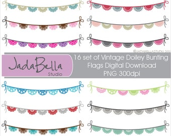 Bunting, Bunting clipart, Vintage Doiley Bunting, Instand download