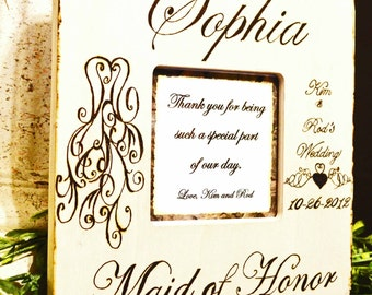 Rustic Wood Burned Personalized Maid of Honor Frame