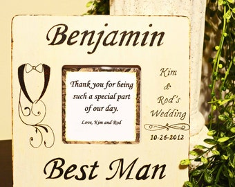 Wood Burned Rustic Personalized Best Man Frame