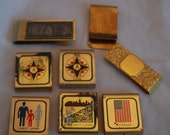 vintage lot of 8 assorted money clips, gold tone, mixed design lot,  5 possibly are boy scout...