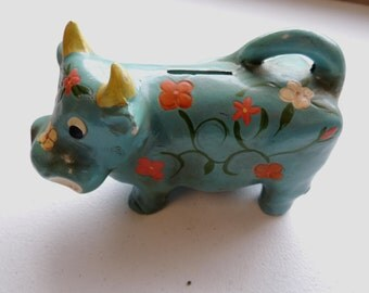 vintage circa 60s made japan, cow bull hand painted paper mache , childs coin bank, flower power bank