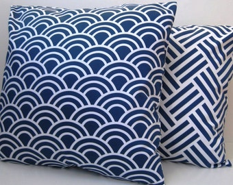 Blue and White Pillow Cover - Modern Pillow - Decorative Pillow - Geometric Blue Pillow -  Beach Pillow  - 20 Inches Square