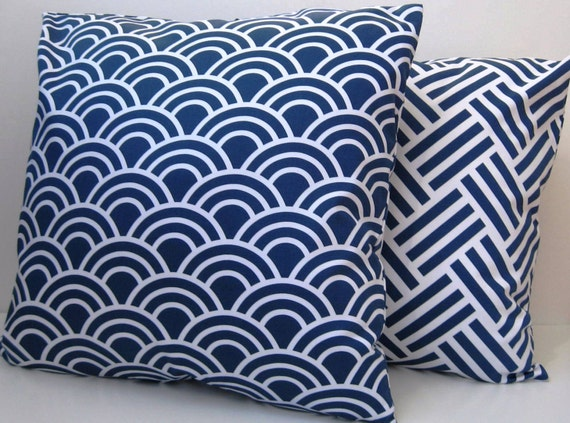 Blue and White Pillow Cover Modern Pillow Decorative