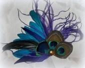 Wedding Bridal Hair Clip Peacock bridal fascinator hair accessory, wedding feather hair clip, green, turquoise, blue, Peacock Wedding