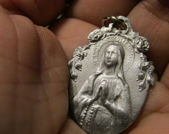 SALE REDUCED Silver Rare Hard to find MEDAL Our Lady Ornate Roses Religious Pendant for Necklace Rosary Charm Bracelet