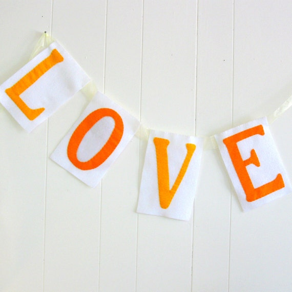 LOVE Banner in White and Yellows - marigold - fall wedding - handmade wedding - Ready to Ship - photo prop - yellow wedding