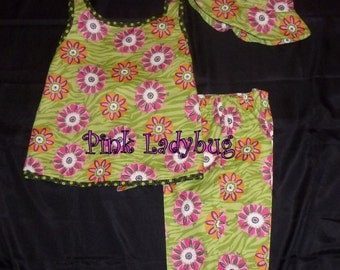 Girls Spring or Summer Wrap Around Top with Capris and Hat Size 8 Ready for Shipment