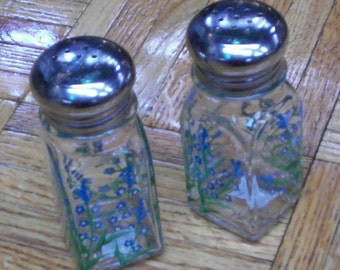 Forget-Me-Not Painted Glass Salt & Pepper Hand Painted Flower Salt and Pepper Shakers by Lisa Hayward