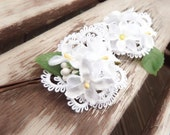 White flower and ruffle lace hair pins, white bridal floral hair accessories - wedding hair clips, bridal flower accessories, bridesmaid