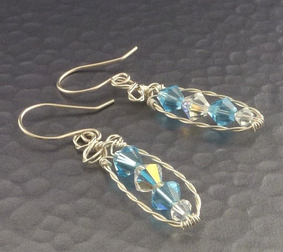 Light Blue Crystal Wire Wrapped Sterling Earrings