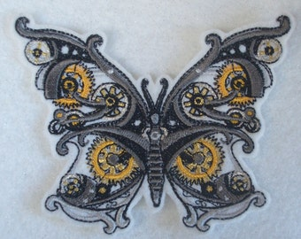 embroidered steampunk butterfly iron on patch