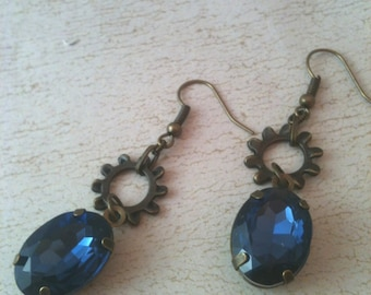 Antiqued Brass Gears and Blue Crystals Steampunk Earrings