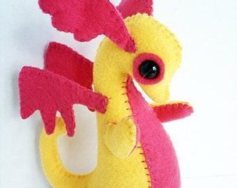 Baby Dragon felt plush stuffed animal- golden yellow with hot pink