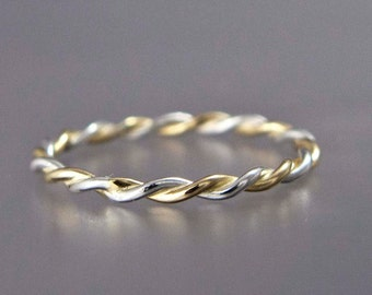 Silver and Gold Twist Ring in Two Tone in mixed Sterling Silver and Yellow or Rose Gold - 1.6mm