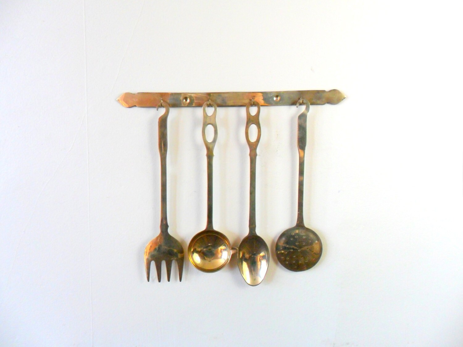 India brass kitchen utensil set with holder gold by for Kitchen utensil holder