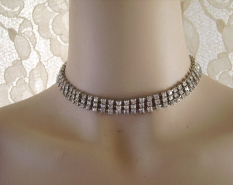 Vintage Silvertone Clear Rhinestone Necklace-Bride Bridesmaid Wedding